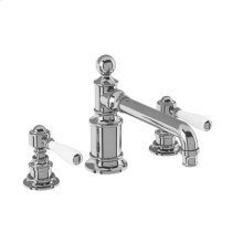 Arcade Widespread Basin Faucet with White Lever Handles - Polished Chrome