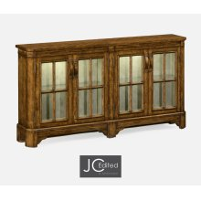 Country Walnut Parquet Welsh Bookcase with Strap Handles