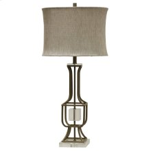 CALAIS TABLE LAMP  Tin and Gold Finish on Metal Body with Crystal Cube and Base  Softback Shade