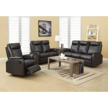 RECLINING-SOFA BROWN BONDED LEATHER