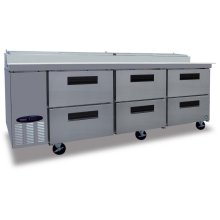 Refrigerator, Three Section Pizza Prep Table with Drawers