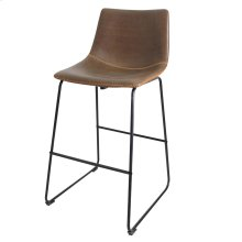 Countour Bar Stool  22in X 39in X 20in Distinctive Black Powder Coat Iron Sled Base with Faux Leath