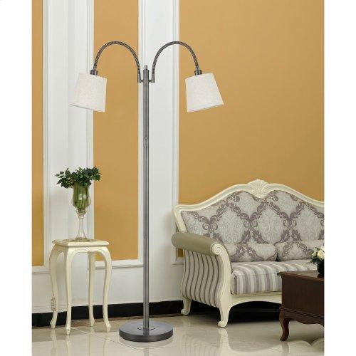40W X 2 Gail Metal Gooseneck Floor Lamp With Burlap Shade