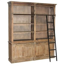 Pine Bookcase with Iron Ladder