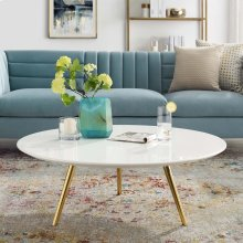 "Lippa 40"" Round Wood Top Coffee Table with Tripod Base in Gold White"