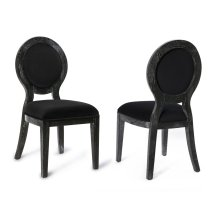 Cerused Oak Black Chair-Set of 2