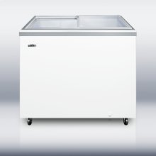 Flat sliding glass lid storage freezer for commercial use with enamel steel interior and digital thermostat