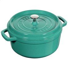 Staub Cast Iron 4-qt round Cocotte, Turquoise