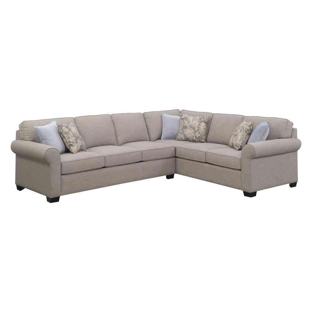 Emerald Home Angelica 2pc Sleeper Sectional W/6 Pillows Off-white U4351-34-12-k