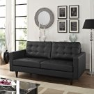 Empress Bonded Leather Loveseat in Black Product Image