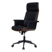Wade KD PU Office Chair, Black/Walnut