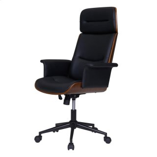 Wade KD PU Office Chair, Black/Walnut