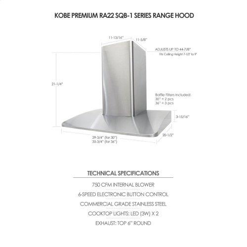 "36"" Wall Mount - Premium RA22 SQB-1 Series"