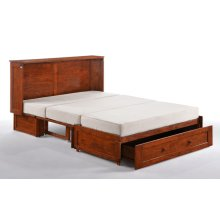 Murphy Cabinet Bed with Tri-Fold Queen Mattress and USB Charging Ports *Cherry Finish*