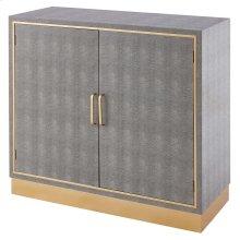 Edinburgh Faux Shagreen Cabinet 2 doors, Chronicle Gray/ Gold