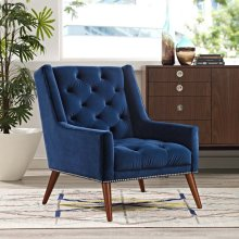 Peruse Velvet Armchair in Navy