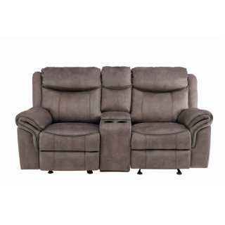 Aram Reclining Sofa w/ Center Drop-Down Cup Holders