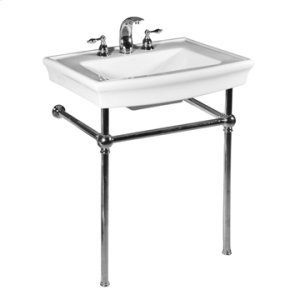 White JULIAN Console Lavatory Metal Stand with Polished Brass Metal Finish