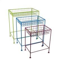 S/3 Metal Tray Tables, Multicolor