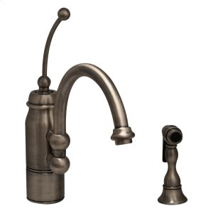 New Horizon single-handle faucet with a curved extended stick handle, curved swivel spout, and a solid brass side spray. Product Image