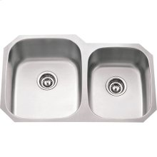 "304 Stainless Steel (16 Gauge) Undermount Kitchen Sink with Two Unequal Bowls. Overall Measurements: 32"" x 20-3/4"" x 9"""