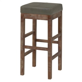 Valencia Bonded Leather Bar Stool Drift Wood Legs, Vintage Gray