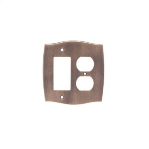 Single GFI/Single Duplex Colonial Switch Plate - Distressed Antique Brass Product Image