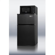 Refrigerator-freezer-microwave combination unit with cycle defrost and black finish