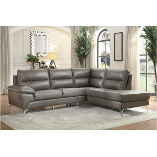 Cairn Leather Sectional Grey