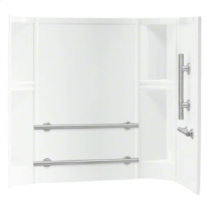 """Accord® 60"""" x 30"""" x 55"""" Smooth Wall Set with Grab Bars - White Product Image"""
