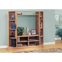 BOOKCASE - MAPLE WITH A SILVER BASE / STORAGE UNIT