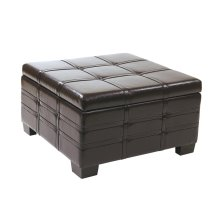 Detour Strap Ottoman With Tray In Espresso Bonded Leather