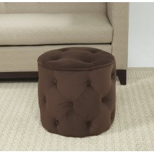 Curves Tufted Round Ottoman In Chocolate Velvet