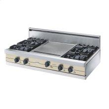 """Biscuit 42"""" Open Burner Rangetop - VGRT (42"""" wide, four burners 18"""" wide griddle/simmer plate)"""