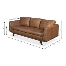 Mid Century Design Leather Sofa, Tan