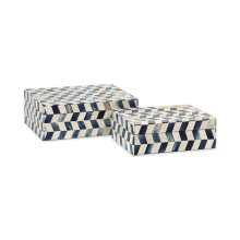 Essentials Marine Blue Bone Boxes - Set of 2
