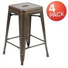 "24"" High Metal Counter-Height, Indoor Bar Stool in Gun Metal Gray - Stackable Set of 4 Product Image"