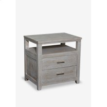 (LS) Davis Solid Wood Bedside Table With 2 Drawers In White Wash -Iron Handle (24x18x24)
