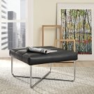 Reach Upholstered Vinyl Ottoman in Black Product Image