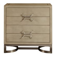 Modern Light Gray Shagreen and Metal Drawer Chest