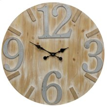 Wooden & Metal Wall Clock  28in X 28in X 2in