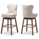 Baxton Studio Gradisca Modern and Contemporary Brown Wood Finishing and Light Beige Fabric Button-Tufted Upholstered Swivel Barstool Product Image