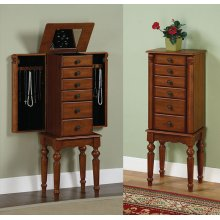 """Lightly Distressed """"Deep Cherry"""" Jewelry Armoire"""