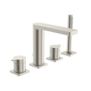 Riva X 4-hole roman tub trim kit, brushed nickel Product Image