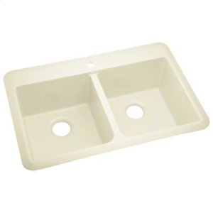 "Slope® 33"" x 22"" x 9"" Double-equal Sink - KOHLER Biscuit Product Image"