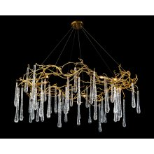 Brass and Glass Teardrop Eight-Light Chandelier