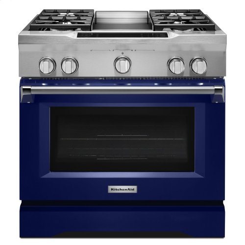 36'' 4-Burner with Griddle, Dual Fuel Freestanding Range, Commercial-Style - Cobalt Blue