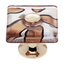 24k Gold 35 mm Silver Flat Square Knob