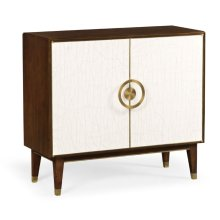 Walnut & Crackle Cloth Lacquered Sideboard