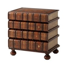 A Hand Carved and Gilt Faux Book Nightstand